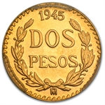 Mexico 1945 2 Pesos Gold Coin MS-68 PCGS