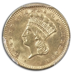 1861 $1 Indian Head Gold - MS-62 PCGS
