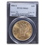 1884-S $20 Gold Liberty Double Eagle - MS-63 PCGS