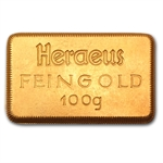 100 gram Heraeus Gold Bar .9999 Fine (Stamped)