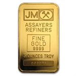 5 oz Johnson Matthey Gold Bar (TD Bank) .9999 Fine