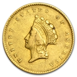 1855-O $1 Indian Head Gold - XF Details