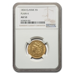 1834 $5 Gold Classic Head Half Eagle - Plain 4 - AU-53 NGC