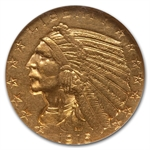1915-S $5 Indian Gold Half Eagle - AU-55 NGC