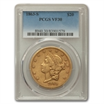 1863-S $20 Gold Liberty Double Eagle - VF-30 PCGS