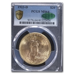 1923-D $20 St. Gaudens Gold Double Eagle - MS-64 PCGS CAC