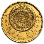 Mexico 1921 20 Peso Gold Coin - Cleaned