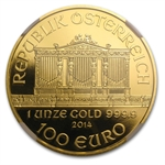 2014 1 oz Proof Gold Austrian Philharmonic PF-70 UCAM ER NGC