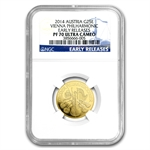 2014 1/4 oz Proof Gold Austrian Philharmonic PF-70 UCAM ER NGC