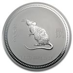 2008 1 kilo Silver Lunar Year of the Mouse (SI) (Light Abrasions)