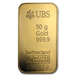 50 gram UBS Gold Bar .9999 Fine (In Assay)