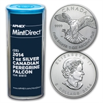 2014 1 oz Silver Peregrine Falcons (25-Coin MintDirect® Tube)