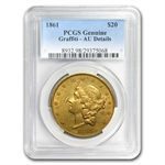 1861 $20 Gold Liberty Double Eagle - (AU-55 Detail/Graffiti) PCGS