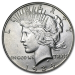 1934-S Peace Dollar - Almost Uncirculated-58