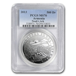 2013 1 oz Silver Armenia 500 Drams Noah's Ark MS-70 (PCGS)