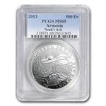 2013 1 oz Silver Armenia 500 Drams Noah's Ark Coin MS-69 PCGS