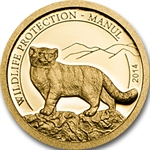 Mongolia 2014 Gold Wildlife - Manul (1/2 gram of Pure Gold)