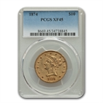 1874 $10 Liberty Gold Eagle - XF-45 PCGS