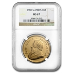 1981 1 oz Gold South African Krugerrand NGC MS-67