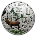 Cook Islands 2014 1/2 oz Proof Silver World of Hunting - Red Deer