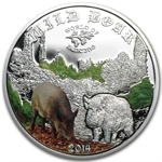 Cook Islands 2014 1/2 oz Proof Silver World of Hunting- Wild Boar