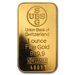 1 oz UBS Gold Bar .9999 Fine (No Assay, Logo Back)