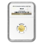 2013 1/20 oz Gold Canadian Maple Leaf MS-69 NGC