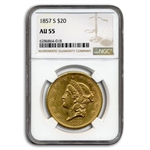 1857-S $20 Gold Liberty Double Eagle - AU-55 NGC