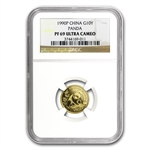 1990 (1/10 oz Proof) Gold Chinese Pandas - PF-69 UCAM NGC