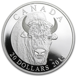 2014 Canadian 1 oz Proof Silver Bison Portrait (W/Box & Coa)