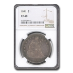 1841 Liberty Seated Dollar - Extra Fine-40 NGC