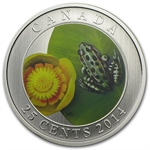 2014 Canadian $0.25 Coloured Water-Lily and Leopard Frog