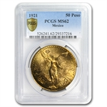 Mexico 1921 50 Pesos Gold Coin - MS-62 PCGS (Secure Plus!)