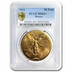 Mexico 1931 50 Pesos Gold Coin - MS-63+ PCGS (Secure Plus!)