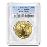"2014 1 oz Gold American Eagle ""Brockage"" Mint Error MS-69 PCGS"