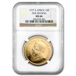 1977 1 oz Gold South African Krugerrand MS-66 NGC Fine Reeding