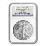 2011-S 1 oz Silver Eagle MS-70 NGC 25th Anniv