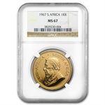 1967 1 oz Gold South African Krugerrand MS-67 NGC