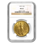 1909 $20 St. Gaudens Gold Double Eagle - MS-62 NGC