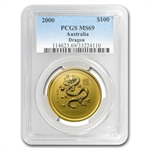 2000 1 oz Gold Year of the Dragon Lunar Coin (SI) MS-69 PCGS