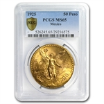 Mexico 1925 50 Pesos Gold Coin - MS-65 PCGS (Secure Plus!)