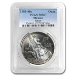 1985 1 oz Silver Mexican Libertad MS-67 PCGS (Toned)
