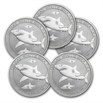 2014 1/2 oz Silver Australian Great White Shark (Lot of 5)
