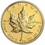 1988 1/10 oz Proof Gold Canadian Maple Leaf