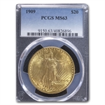 1909 $20 St. Gaudens Gold Double Eagle - MS-63 PCGS