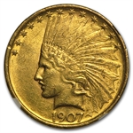 1907 $10 Indian Gold Eagle - No Motto - MS-61 NGC