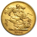 Australia 1886-M Gold Sovereign (EF Details)