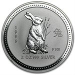 1999 2 oz Silver Lunar Year of the Rabbit (Series I)