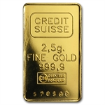 2.5 gram Gold Bar (Secondary Market) .999+ Fine