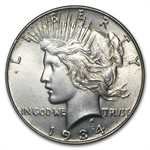 1934 Peace Dollar - Almost Uncirculated